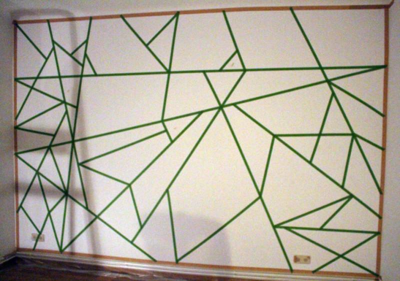 Diy love mach was aus einer wei en wand m tzenschaf for Wand streichen muster abkleben