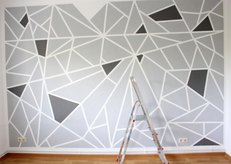 Wande Streichen Abkleben Wand Mit Farbigen Streifen Mit Richtig