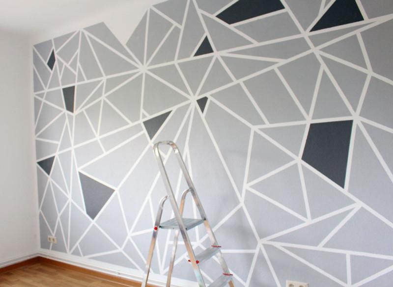 Abkleben zum streichen good wnde farbig streichen with - Wand streichen muster abkleben ...