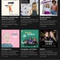 sechs Cover von Podcast-Kanälen auf schwarzem Hintergrund