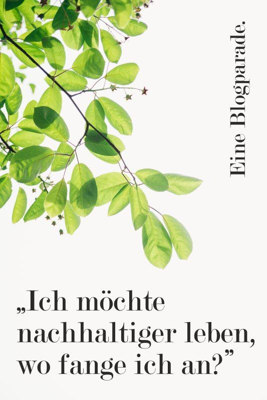"""Unverpackt; Banner zur Blogparade """"Ich möchte nachhaltiger Leben, wo fange ich an?"""" mit weißem Hintergrund und einem grünen Zweig."""