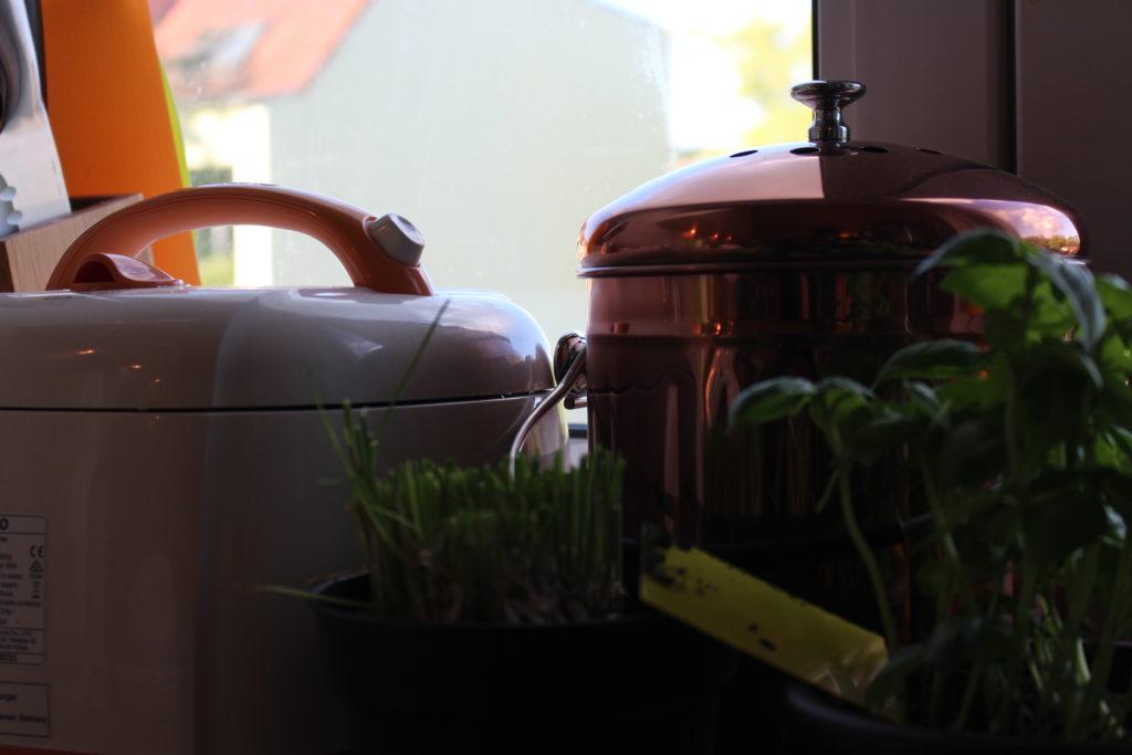 Komposteimer und Reiskocher im Hintergrund, Kräuter wie Schnittlauch und Basilikum stehen davor.